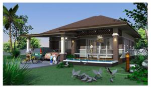 Nhà vườn được thiết kế một tầng có bể bơi