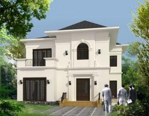 Thiết kế nhà 2 tầng trên mảnh đất méo